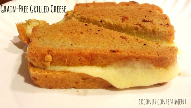 Grain-Free Grilled Cheese- perfect for a rainy Saturday lunch. Recipe for #paleo bread and simple tomato soup on the blog