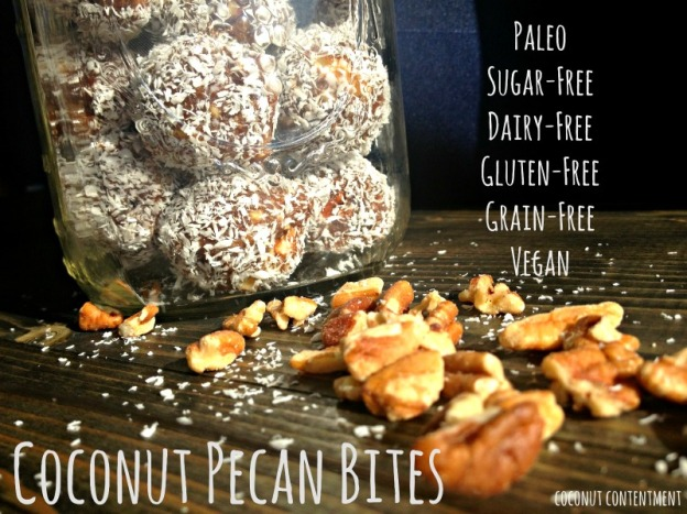 Coconut Pecan Bites by Coconut Contentment- Paleo, Sugar-free, Grain-free, Gluten-free, Dairy-free, Vegan. Perfect for adults and kids alike for an afternoon snack or dessert.