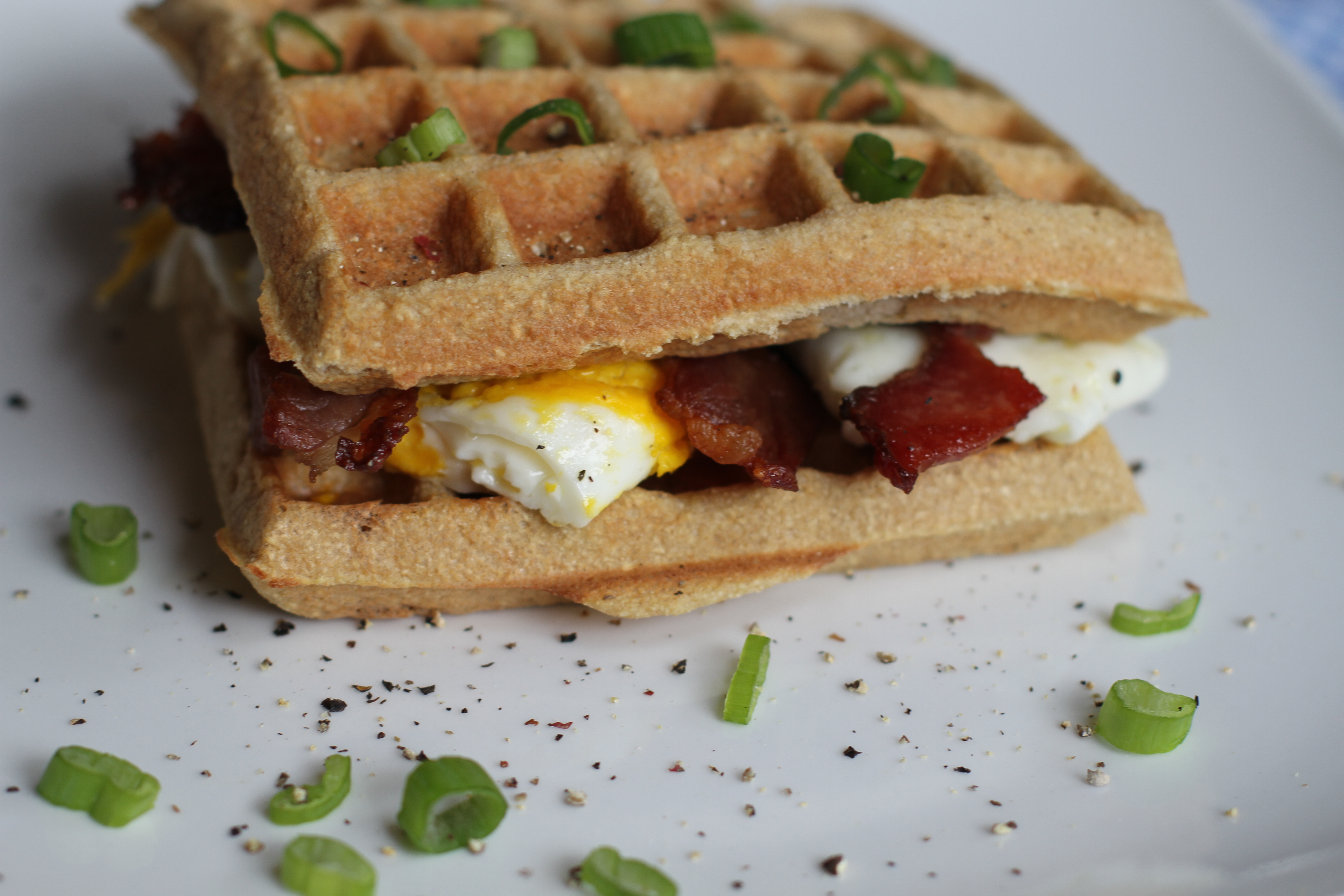 Herb Waffles With Sausage, Peppers, And A Fried Egg Recipes ...